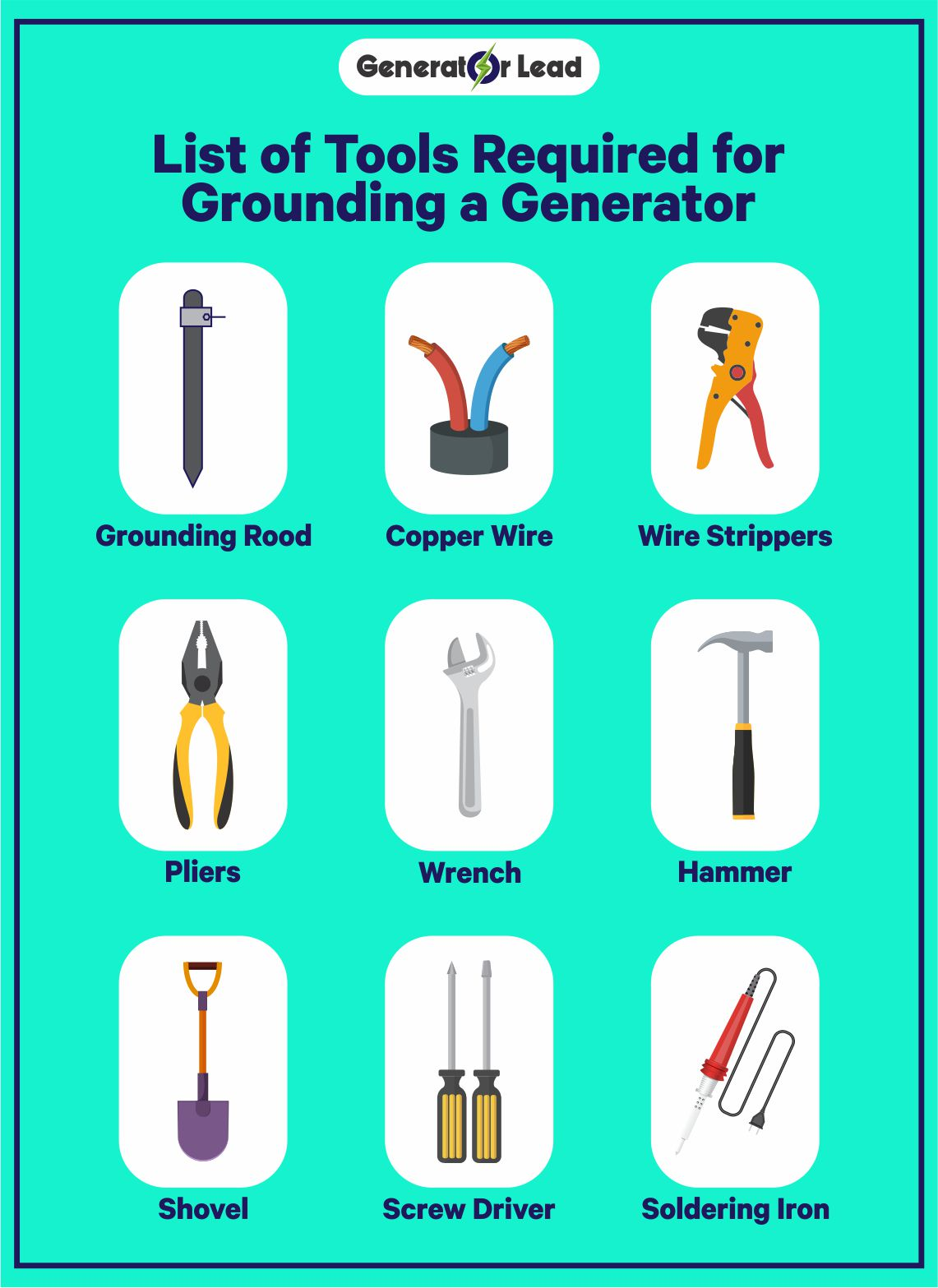 List of Tools Required for Grounding a Generator